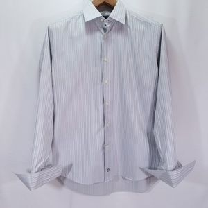 David Donahue Gray Striped Shirt 16/5 34/35 French